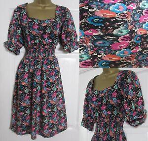 NEW Next Floral Tea Sun Dress Elasticated Waist Frill Sleeve Black Pink 10-26