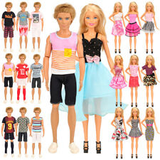 Barbie & Ken Doll Clothes T-Shirts Shorts Pants Dresses - Set 5 Outfits
