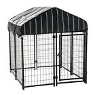 """Lucky Dog 4'6""""H x 4'L x 4'W Welded Wire Outdoor Dog Kennel w/ Heavy Duty Cover"""