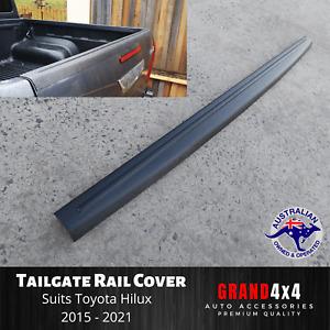 Tailgate Cover Cap Trim Rail Guard Matte Black for Toyota Hilux 2015 - 2021