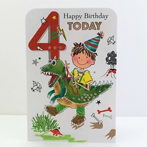 Jonny Javelin Boy Age 4 Today Happy Birthday Card Boy Dinosaur/TW094