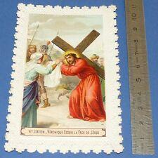 CHROMO RELIGION CANIVET IMAGE PIEUSE 1920-1930 VIe STATION JESUS & VERONIQUE