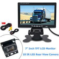 "Wired Car Bus Rear View Kit 7"" LCD Monitor + Reverse IR 18 LED Reversing Camera"