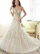"""Sophia Tolli Y11555 """"Caracara"""" Size 10 Champagne Wedding Dress"""