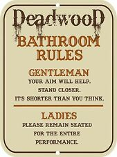 "Retro Vintage Nostalgic Funny Toilet DEADWOOD Bathroom Rules Metal Sign 9""x12"""