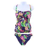 La Blanca Plus Size Bora Bora Bandeau Tankini Swimsuit Set, Midnight Floral 16W