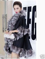 Opulent Womens Real Best Fox Fur Pashm Poncho Cape Coat Wraps Warm Scarf Knitted