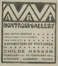 xRARE American Artist Childe Hassam Exhibition Program Montross Gallery NY 1911