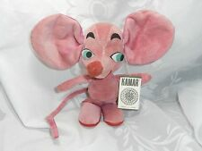 "VINTAGE KAMAR PINK MOUSE ""NIKKY"" #23 SAWDUST STUFFED ANIMAL MINT WITH TAG! JAPAN"