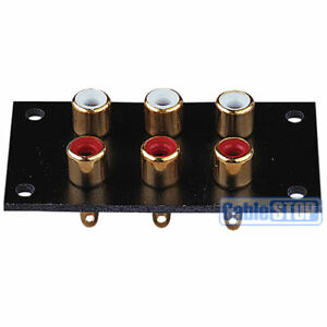 GOLD 6 WAY RCA TERMINAL Wall Panel Plate Phono Chassis Socket Audio Connector