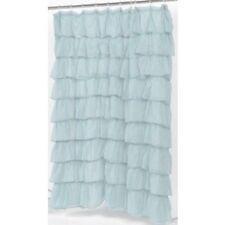 """Carmen"" Blue ruffled tier 100% polyester fabric shower curtain, size 70""x72"""
