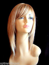 100% real human hair lady wig light golden brown & honey & pale blonde 12/16/613
