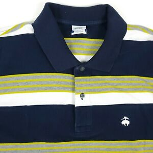 Brooks Brothers Slim Fit Performance Blue White Striped Polo Shirt Size Large