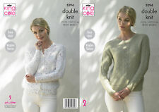 King Cole Ladies Double Knitting Pattern Easy Knit Raglan Sweater Cardigan 5294