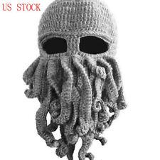 Tentacle Octopus Mask Beard Squid Cap Wind Ski Wool Knit Cosplay Cthulhu Beanie