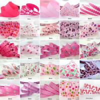 "25x1Yard Assorted Satin Grosgrain Ribbon Lot 3/8""--1.5"" Pink Theme Craft Bow-A"