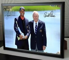 Arnold Palmer Lienzo Enmarcado Tiger Woods Golf homenaje impresión firmada