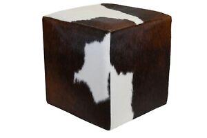 Cowhide Pouf Ottoman Cube Color Tricolor, TOP Quality