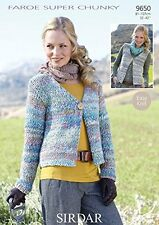 "New Easy Knit Sirdar Faroe Super Chunky Knitting Pattern 9650 81 - 107 cm/32-42"""