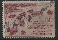 US Scott #RW8, Single 1941 Duck Stamp $1 FVF Used