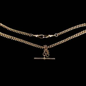 Antique 9ct 9K Gold Curb Link Albert Watch Chain Necklace (33.3g)