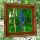 Stained Glass Panel  Vintage 1964  Mouth Blown   Framed   Blue Seahorse