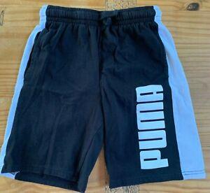 PUMA Boy's Size 10/12 Black White Logo Shorts EUC