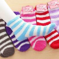 1 Pairs Womens Ladies Soft Cozy Soft Fuzzy Socks Home Warm Striped-Slipper U6G1