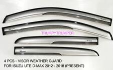 VISOR RAIN SHIELD WIND DEFLECTOR WEATHER GUARD FOR ISUZU UTE D-MAX 2012-2018 @IN