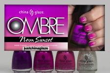 CHINA GLAZE OMBRE NEON SUNSET 4Pc POLISH SET Full Size Polish W/Sponges
