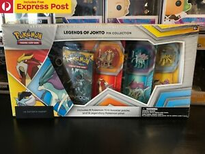 POKEMON TCG LEGENDS OF JOHTO PIN COLLECTION CARDS - 9 BOOSTER PACKS - BOX DAMAGE