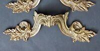 2 Antique Ornate Acanthus Leaf Gilt Bronze Furniture Mounts Drawer Pulls Handles