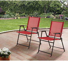 Mainstays Red Sling 2 Folding Chair Set Outdoor Picnic Beach Relaxing Seats