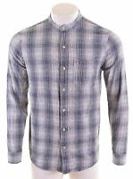 HOLLISTER Mens Flannel Shirt Medium Navy Blue Check Cotton  MS16
