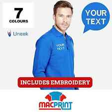 Uneek UC113 Personalised Long Sleeve Embroidered Polo Shirts Workwear Customised