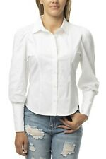 Almost Famous Stretch White Button Up Shirt with Puff Sleeve