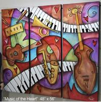 ERIC WAUGH ORIGINAL ART, 3 PANELS, MUSIC OF THE HEART, ONE OF A KIND ORIGINAL
