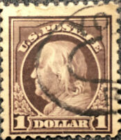 Scott #518 US 1917 1 Dollar Franklin Postage Stamp Perf 11
