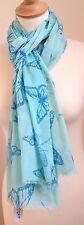 Neues 100% Baumwolle Damen blau Libelle & Schmetterling Aufdruck Schal von