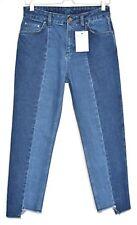 Topshop BOUTIQUE Slim Leg Patched Raw Step Hem Blue Crop Jeans Size 10 W28