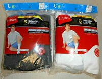 HANES 1 PACK OF 6 PAIRS OF CUSHION CREW SOCKS BLACK OR WHITE SZ 6-12 SEE VAR NIP