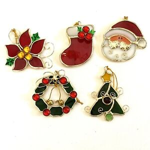 Stained Glass Christmas Sun Catcher Ornaments lot Wreath Poinsettia Claus Tree