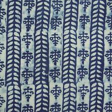 10 Yard Indian Hand Block Print Fabric Sanganeri Cotton Indigo Blue Dabu Fabric