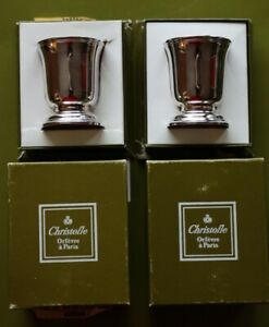 ALBI Vintage Pair of French Silver Plated Signed CHRISTOFLE Egg Cups + BOX  NEW