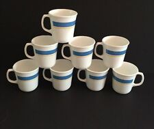 Lot 8 Corning Ware White Blue Yellow Coffee or Tea Mug Cup White Stripes USA