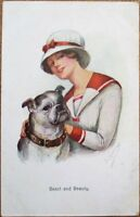 Fred Kuskeline/Artist-Signed Bulldog & Woman 1915 Postcard