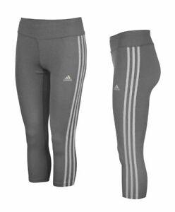 Adidas 3 Stripe 3/4 Leggings Climalite Ladies Gym Fitness GREY B722
