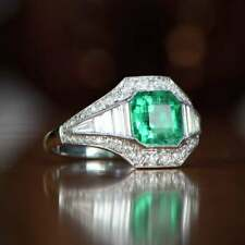 Vintage 2.80 ct Green Emerald Sapphire Halo Engagement Ring 925 Sterling Silver