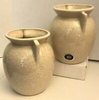 2PC Vintage Harris Potteries Chicago IL Natural Crackle Vase Art Pottery Pots