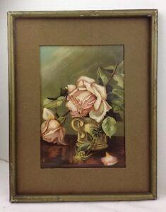 Antique 1889 Pink Roses Chromolithograph Art Print In Original Frame w Wood Back